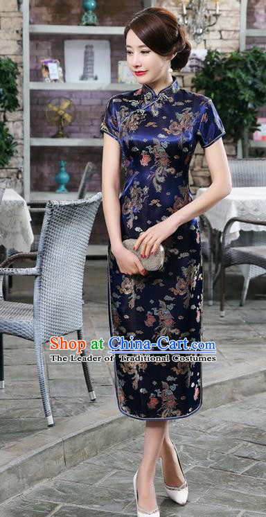 Traditional Chinese Elegant Phoenix Cheongsam China Tang Suit Navy Brocade Qipao Dress for Women