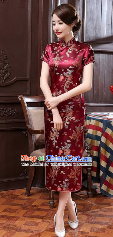 Traditional Chinese Elegant Phoenix Cheongsam China Tang Suit Wine Red Brocade Qipao Dress for Women