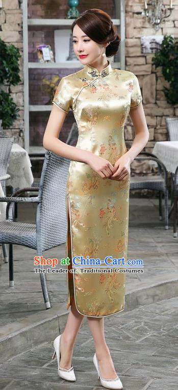 Traditional Chinese Elegant Phoenix Cheongsam China Tang Suit Yellow Brocade Qipao Dress for Women