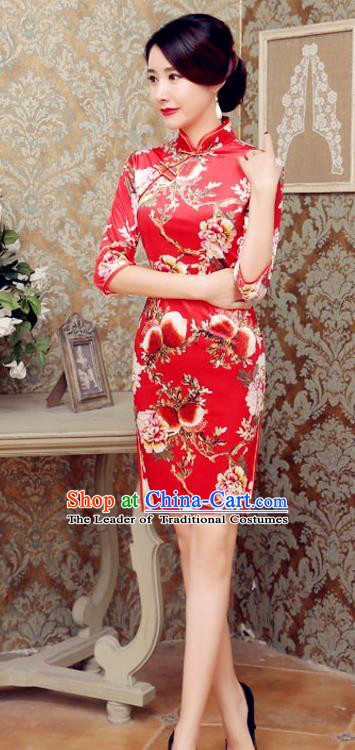Traditional Chinese Elegant Printing Flowers Red Short Cheongsam China Tang Suit Qipao Dress for Women