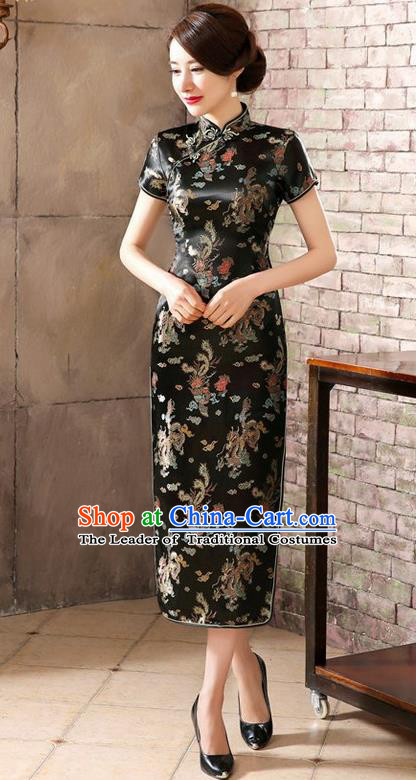 Traditional Chinese Elegant Phoenix Cheongsam China Tang Suit Black Brocade Qipao Dress for Women