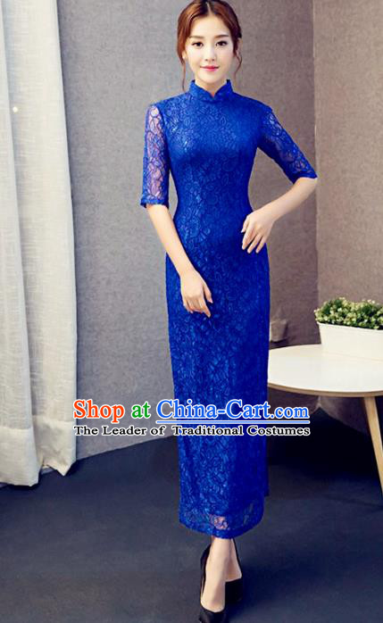 Traditional Chinese Elegant Cheongsam China Tang Suit Blue Lace Qipao Dress for Women
