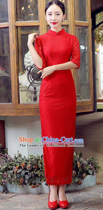 Traditional Chinese Elegant Cheongsam China Tang Suit Red Lace Qipao Dress for Women