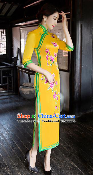 Traditional Chinese Elegant Printing Yellow Silk Cheongsam China Tang Suit Qipao Dress for Women