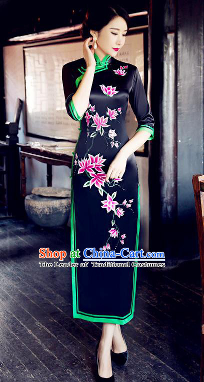 Traditional Chinese Elegant Printing Black Silk Cheongsam China Tang Suit Qipao Dress for Women
