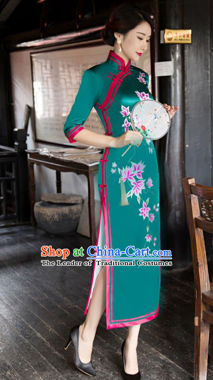 Traditional Chinese Elegant Printing Green Silk Cheongsam China Tang Suit Qipao Dress for Women