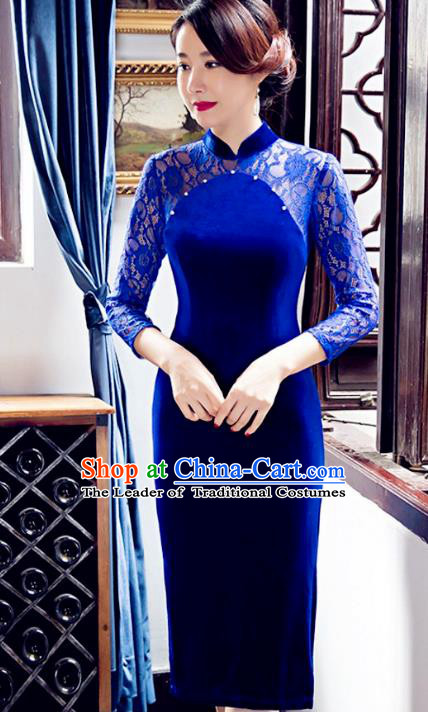 Traditional Chinese Elegant Velvet Cheongsam China Tang Suit Blue Lace Qipao Dress for Women