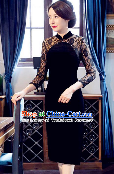 Traditional Chinese Elegant Velvet Cheongsam China Tang Suit Black Lace Qipao Dress for Women