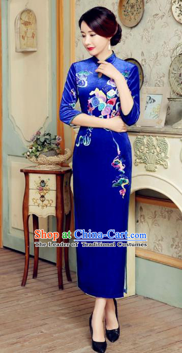Traditional Chinese Elegant Cheongsam China Tang Suit Printing Blue Velvet Qipao Dress for Women