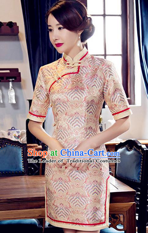 Traditional Chinese Elegant Golden Brocade Cheongsam China Tang Suit Short Qipao Dress for Women