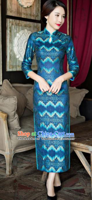 Traditional Chinese Elegant Blue Lace Cheongsam China Tang Suit Qipao Dress for Women