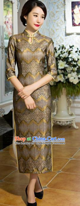 Traditional Chinese Elegant Golden Lace Cheongsam China Tang Suit Qipao Dress for Women