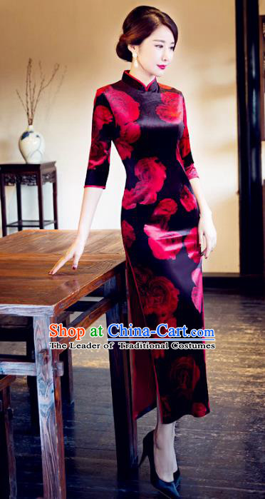 Traditional Chinese Elegant Printing Rose Black Cheongsam China Tang Suit Qipao Dress for Women