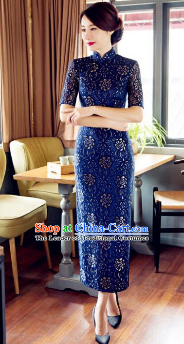 Chinese Traditional Costume Elegant Cheongsam China Tang Suit Royalblue Qipao Dress for Women
