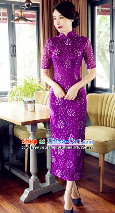 Chinese Traditional Costume Elegant Cheongsam China Tang Suit Purple Qipao Dress for Women