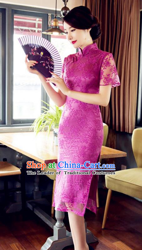 Chinese Traditional Costume Elegant Embroidered Pink Cheongsam China Tang Suit Qipao Dress for Women
