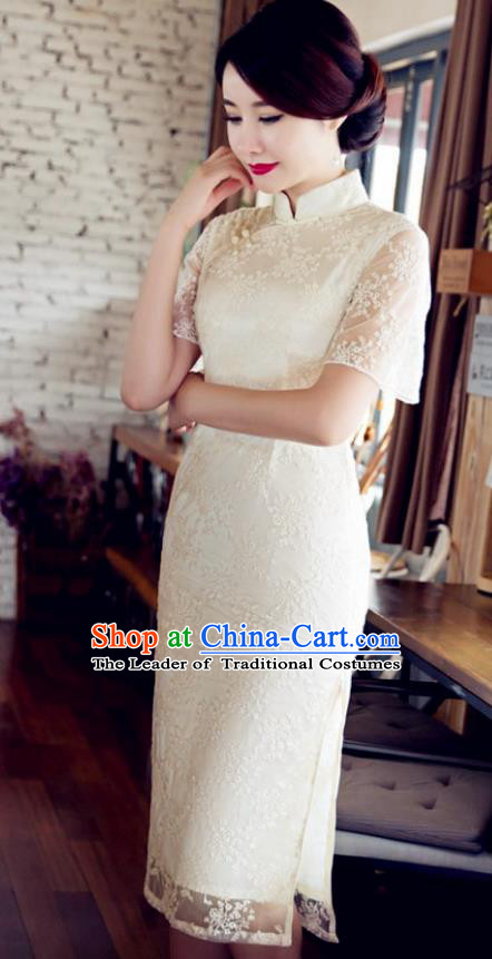 Chinese Traditional Costume Elegant Embroidered White Cheongsam China Tang Suit Qipao Dress for Women