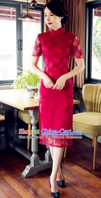 Chinese Traditional Costume Elegant Embroidered Red Cheongsam China Tang Suit Qipao Dress for Women