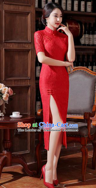 Chinese Traditional Costume Elegant Red Cheongsam China Tang Suit Qipao Dress for Women