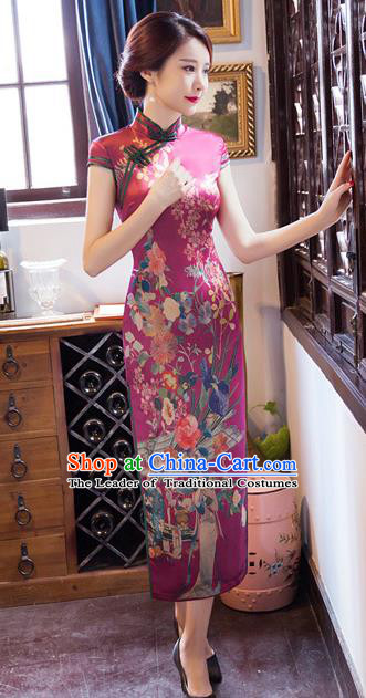 Chinese Traditional Costume Elegant Printing Purple Cheongsam China Tang Suit Qipao Dress for Women