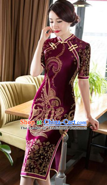 Chinese Traditional Costume Elegant Purple Velvet Cheongsam China Tang Suit Qipao Dress for Women