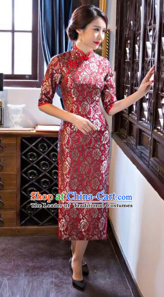 Chinese Traditional Costume Elegant Silk Cheongsam China Tang Suit Red Qipao Dress for Women