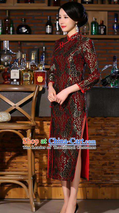 Chinese Traditional Costume Elegant Cheongsam China Tang Suit Red Qipao Dress for Women