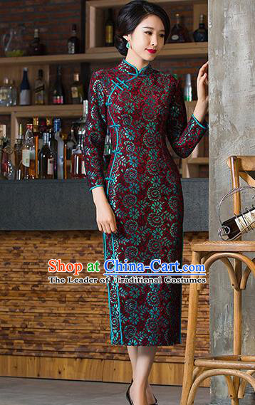Chinese Traditional Costume Elegant Cheongsam China Tang Suit Amaranth Qipao Dress for Women