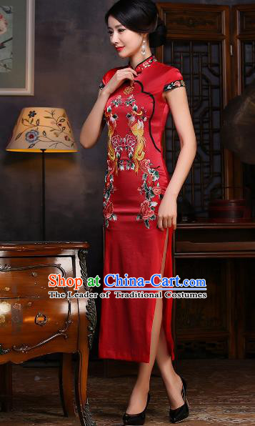 Chinese Traditional Costume Elegant Cheongsam China Tang Suit Embroidered Dragon Red Qipao Dress for Women