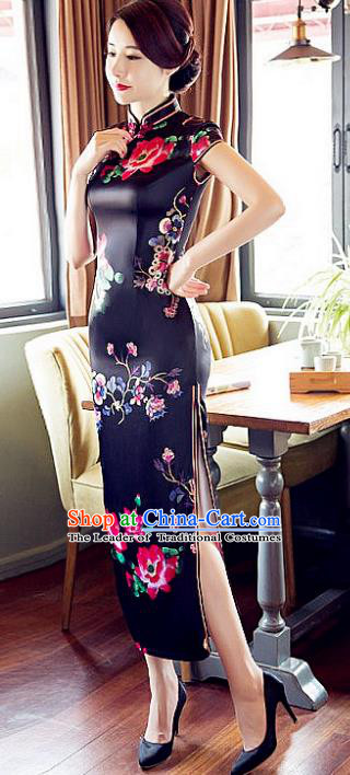 Chinese Traditional Costume Elegant Cheongsam China Tang Suit Printing Black Satin Qipao Dress for Women