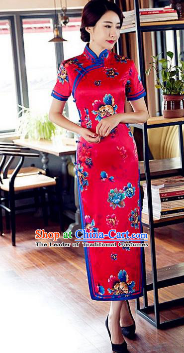 Chinese Traditional Costume Elegant Cheongsam China Tang Suit Printing Red Satin Qipao Dress for Women