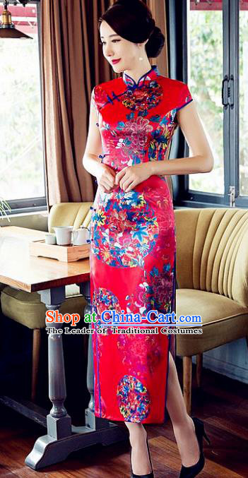 Chinese Traditional Costume Graceful Cheongsam China Tang Suit Printing Red Qipao Dress for Women
