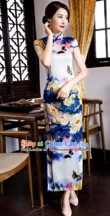 Chinese Traditional Costume Graceful Cheongsam China Tang Suit Printing Butterfly Qipao Dress for Women