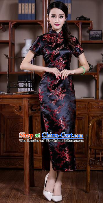 Chinese Traditional Costume Graceful Plum Blossom Cheongsam China Tang Suit Black Brocade Qipao Dress for Women