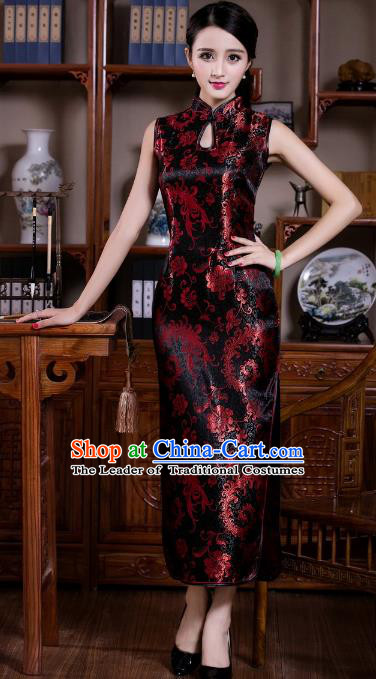 Chinese Traditional Costume Graceful Ombre Flowers Cheongsam China Tang Suit Black Brocade Qipao Dress for Women