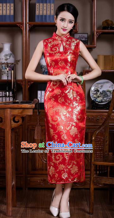 Chinese Traditional Costume Graceful Ombre Flowers Cheongsam China Tang Suit Brocade Qipao Dress for Women