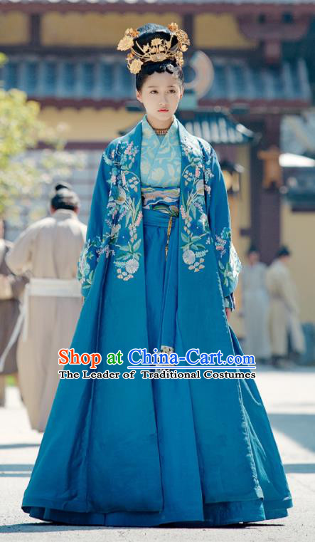 Untouchable Lovers Chinese Ancient Princess Liu Chuyu Embroidered Replica Costumes and Headpiece Complete Set for Women