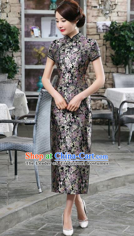 Chinese Traditional Costume Black Brocade Cheongsam China Tang Suit Silk Qipao Dress for Women