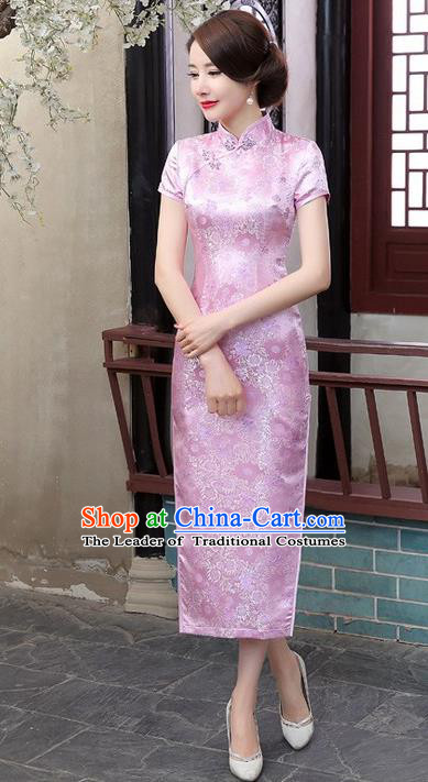Chinese Traditional Costume Cheongsam China Tang Suit Pink Brocade Qipao Dress for Women
