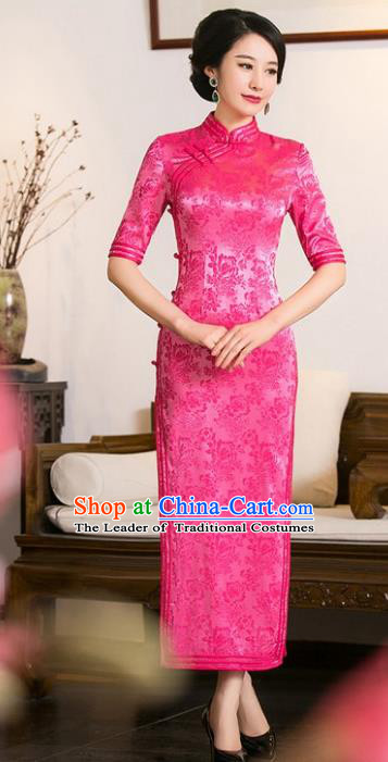 Chinese Traditional Costume Rosy Cheongsam China Tang Suit Qipao Dress for Women