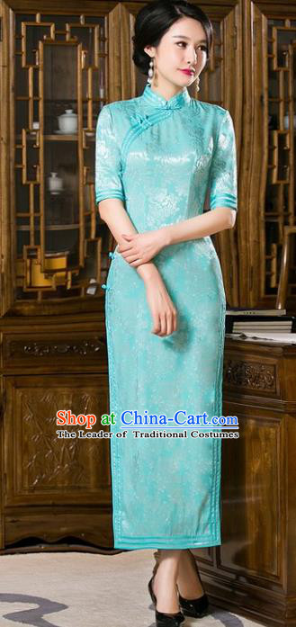 Chinese Traditional Costume Green Cheongsam China Tang Suit Qipao Dress for Women