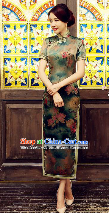Chinese Traditional Costume Printing Lotus Cheongsam China Tang Suit Silk Qipao Dress for Women