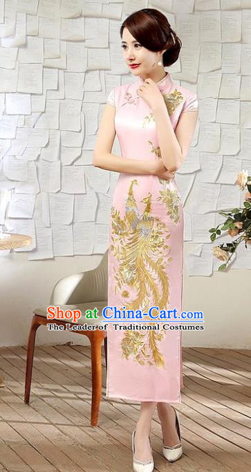 Chinese Traditional Costume Embroidered Phoenix Pink Cheongsam China Tang Suit Silk Qipao Dress for Women