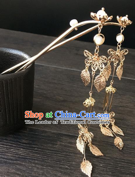 Traditional Handmade Chinese Ancient Classical Hair Accessories Golden Tassel Hairpins for Women