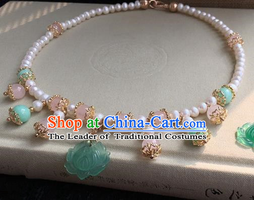 Traditional Handmade Chinese Ancient Classical Accessories Green Lotus Necklace Pearls Necklet for Women