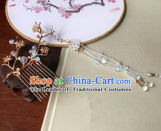 Traditional Handmade Chinese Ancient Classical Hair Accessories Tassel Hair Comb Hairpins for Women