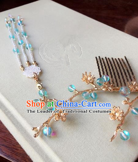 Traditional Handmade Chinese Ancient Classical Hair Accessories Blue Beads Tassel Hair Comb Hairpins for Women