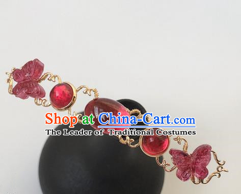 Traditional Handmade Chinese Ancient Classical Hair Accessories Hairpins Red Butterfly Hair Stick for Women