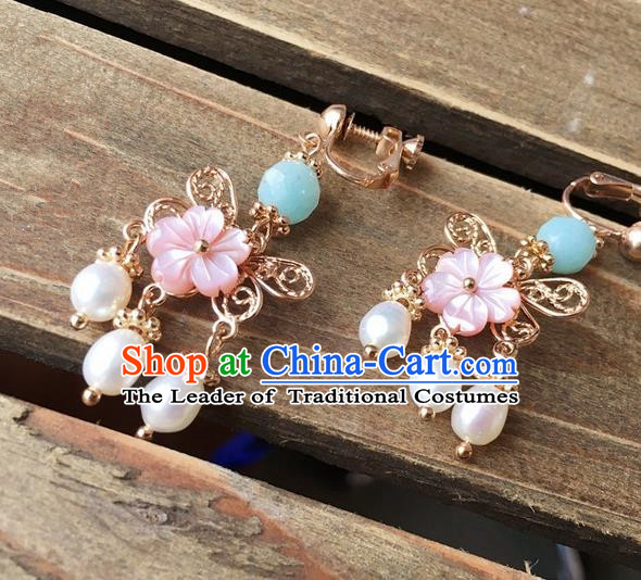 Traditional Handmade Chinese Ancient Classical Accessories Hanfu Pearls Tassel Earrings for Women