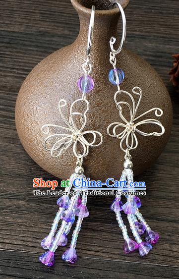 Traditional Handmade Chinese Ancient Classical Accessories Hanfu Tassel Earrings for Women